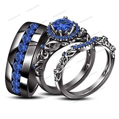2.10 CT Round Blue Sapphire 14k Black Gold FN 925 Silver His & Her Trio Ring…