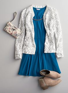 Style tip: Balance the ultra-femme feel of a lace bomber jacket with tomboy- tough ankle boots. Plus, adding them to your favorite summer dress makes for a chic pre-fall outfit. Featured product: Candie's lace bomber jacket, ribbed skater dress, ankle boots and Phoebe floral wristlet. Find your favorite styles (for back to school and more) at Kohl's.