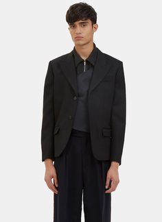 YANG LI Men's Single-Breasted Blazer Jacket in Black. #yangli #cloth #
