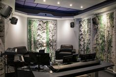Recording studio of Verne in Helsinki. Studio acoustics are not made of birch but peat fibre board with printed picture. 50 Years Old, Recording Studio, Helsinki, Acoustic, Birch, Organic, Curtains, Printed, Board