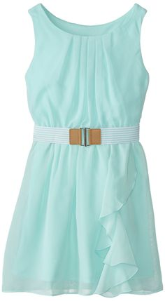 Amazon.com: Amy Byer Big Girls' Belted Dress with Ruffled Skirt, Coral, 7: Clothing