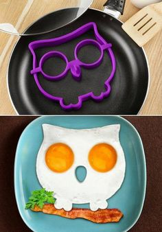 FUNNY SIDE UP pan, Owl Eggs.... I WANT ONE! FUNNY SIDE UP OWL SHAPED EGG MOLD NOVELTY EGG RING ~ SHIPPED FREE