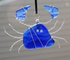 Sea Glass Crab Suncatcher Ornament with Cobalt by oceansbounty