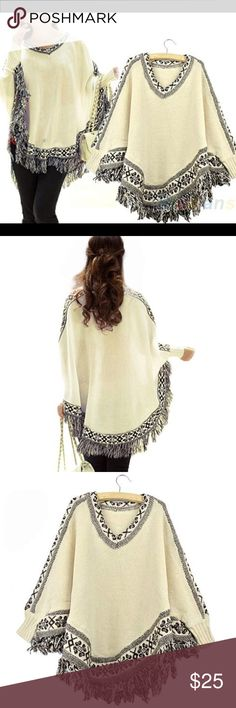 """Tribal Poncho Beige with black detail. Has the """"batwing"""" look and tassels at the bottom. Has a V-neckline. Material: Cotton blends. Sleeve: 24.18"""" Length: 25.35"""" One size only, about size  XS-M. Sweaters Shrugs & Ponchos"""