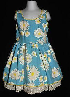 Vintage 60's Girls Size Small 4/5 Mod FLOWER POWER Sundress Dress Daisies Flower