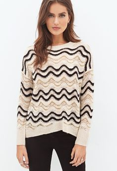 Contemporary Metallic Wave-Striped Pointelle Sweater