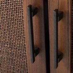 Warwick 2-Door Wood & Rattan Accent Cabinet - Threshold™