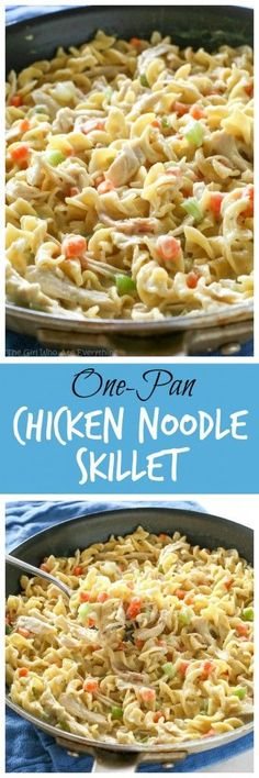 "This Creamy Chicken Noodle Skillet is a family friendly dinner that can be made in under 20 minutes all in one pan!   As I was making this Creamy Chicken Noodle Skillet the phrase ""Necessity is the Mo"