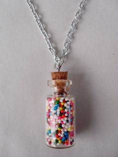 Rainbow Sprinkles Necklace by PoisonTragic on Etsy, $10.00.  I MUST HAVE THIS...My birthday will be arriving sooner than later...hehehe!!!