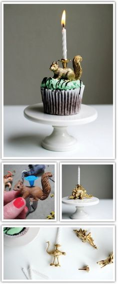 Make easy and unique candle holders for kiddo's birthday or as an unexpected treat on some morning pancakes.