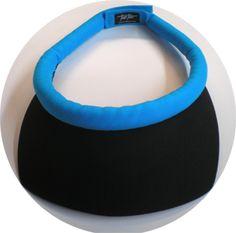 Square Black Brim w/Turquoise Band Velcro Closure sun visor
