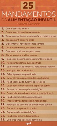 25 Commandments for Healthy Eating in Childhood – Help! Meu Filho Come Mal – Programs – GNT - Modern Menu Dieta, Think, Baby Hacks, Kids Education, Kids And Parenting, Baby Food Recipes, Kids Meals, Healthy Life, Healthy Eating