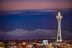 Space Needle and Cascades Mountains (east of Seattle) by Conor Musgrave