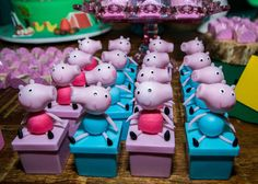Cute favors at a Peppa Pig birthday party! See more party planning ideas at CatchMyParty.com!