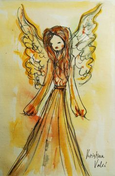 Angel painting on paper