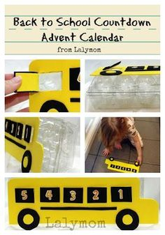A Back to School Countdown Advent Calendar Using an Egg Carton! This back to school idea is really fun for kids and it helps to build some excitement before school starts. Try this easy to make school advent calendar with your kdis! School Bus Crafts, Back To School Crafts, Back To School Activities, Craft Activities For Kids, School Ideas, Family Activities, Craft Ideas, Kids Calendar, Countdown Calendar