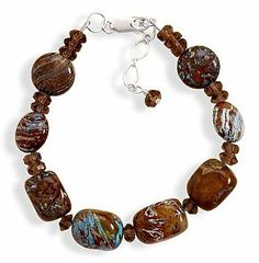 Blue Jasper/Glass Bead Bracelet, 7-1/4 + 1 in Ext., Sterling Silver Clasp Silver Messages. $30.99. Save 28% Off!