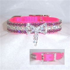LafyHo Bling Crystal Cat Collar Metal Adjustable Puppy Bow Tie Rhinestone Soft Collars Pet Supplies for Small Medium Dogspinkpink 1