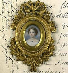 Elegant Antique French Portrait Miniature of a Child, a Girl of 7-8 Years, Elaborate Dore Bronze Frame Antique Frames, Antique Art, Miniature Portraits, Rare Images, Face Light, Old Paintings, Light Photography, Artist Painting, French Antiques