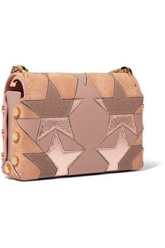 Blush suede, taupe textured-leather, antique-rose leather, rose gold elaphe Push lock-fastening front flap Designer color: Tea Rose Comes with dust bag Elaphe: China Made in Italy