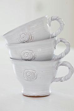 Sweet white rose mugs