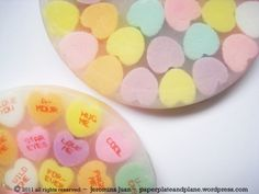 Here's a conversation piece for your coffee table — conversation candy heart coasters. It's the perfect time of year to make and use these. You will not be able to get your hand… Valentine Candy Hearts, Valentine Crafts, Be My Valentine, Holiday Crafts, Holiday Fun, Valentine Ideas, Christmas Gifts, Diy Resin Crafts, Crafts To Make
