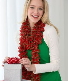 Holiday Plaid Scarf Free Knitting Pattern from Red Heart Yarns