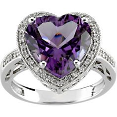 Heart-Shaped Amethyst & Diamond Ring Repin by Joanna MaGrath on Pinterest Rings