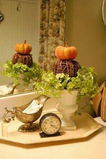 pumpkin and plant decor... Changing Seasons- Easy Autumn Bathroom Decor from Bathroom Bliss by Rotator Rod