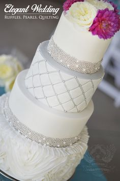 Rosette Ruffle Cake with modern quilting and silver pearls! By Artisan Cake Company #wedding #cake #ruffle #rosette