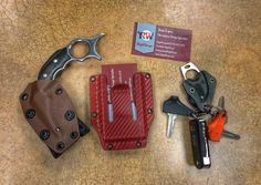 Some of my EDC items. My Karambit, business card holder and keys. Kydex sheath And holster are available on my webpage RigidWraps.com