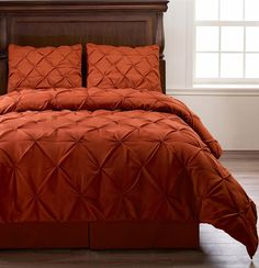 Emerson 4pc Pinched Pleat Comforter Set Orange   Full, Queen, King, Cal King