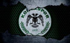 Download wallpapers Konyaspor, 4k, logo, Super Lig, soccer, football club, grunge, Konyaspor FC, art, metal texture