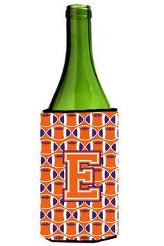 Letter E Football Orange - White and Regalia Wine Bottle Beverage Insulator Hugger CJ1072-ELITERK #artwork #artworks