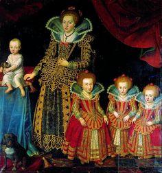 Christian 4.s anden kone Kirsten Munk. Kirsten er her portrætteret med fire af hendes og kongens fælles børn. Christiane, der blev gift med Hannibal Sehested, var også datter af Christian 4. og Kirsten Munk.