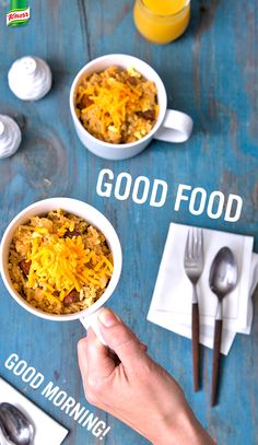 How to enjoy a brunchy breakfast in less than half an hour? Make Knorr's easy Chorizo And Egg Rice bowl. Cook onion and sausage in a skillet. Add water and Knorr® Fiesta Sides™ - Spanish Rice. Stir eggs into rice mixture. Top with cheese. Have a great day!
