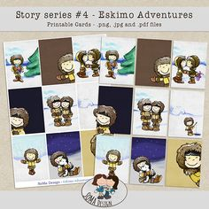 Story Series - Eskimo Adventures Cards The Eskimo Adventures is the fourth part of our Story series. Printable Cards, Digital Scrapbooking, Adventure, Comics, Design, Art, Craft Art, Printable Maps, Kunst