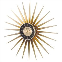 Metal Sunburst Wall Clock in Bronze GEORGENELSON_1688sunshine-B-24 by FF Design
