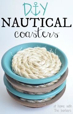 easy DIY nautical coaster set | Make your own nautical coasters with a be achy twist! A fun and easy project, perfect for summer patio parties, gift ideas, or any time of year!