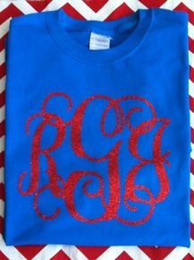 Finally!  A Glitter Monogram Tee!  Choose from red, turquoise and silver right now on any shirt color!