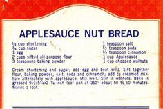APPLESAUCE NUT BREAD from RecipeCurio.com, Charming Vintage Recipes