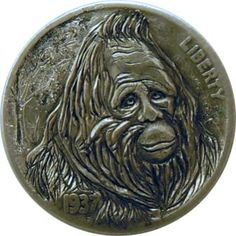 (The Big Foot  Hobo Nickel carved by mrthe)    This is cool