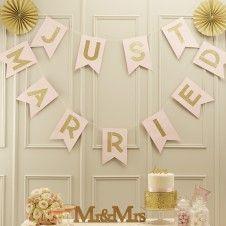 "Glitzergirlande ""Just Married"" Glitter - rosa / gold"