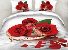 New Arrival Beautiful Red Rose and Pearl Necklace Print 4 Piece Bedding Sets Red Bedding Sets, Bedding Sets Online, Pizza Pool Float, Beautiful Bedding Sets, Comforter Cover, Duvet Covers, Seat Covers, Beautiful Red Roses, Floral Bedding