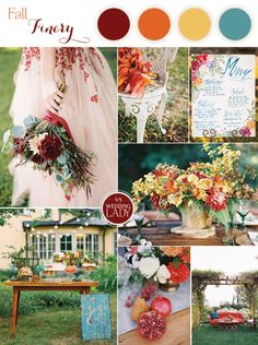 Bold and Colorful Fall Wedding in Burgundy, Orange, and Teal