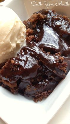 Chocolate Cobbler! Warm chocolate cake with ooey, gooey fudgy sauce that bakes inside AND you probably already have all of these ingredients!