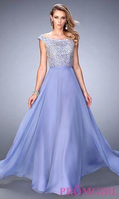 Off shoulder embellished chiffon prom dress by gigi