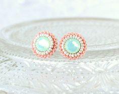 zarcillos coral y verde menta estilo soutache