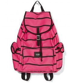 Victoria S Secret Bright Neon Pink Black Stripe Backpack School Book Bag 2017 Ebay Tote