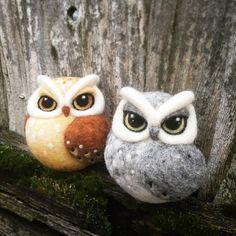 Needle felted owls #owl #needlefelting #bird #felt #hornedowl #greyowl #brownowl #feltart #art #sculpture #fibreart #cambridgemade
